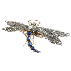 Victorian Diamond and Sapphire Gold Dragonfly Brooch