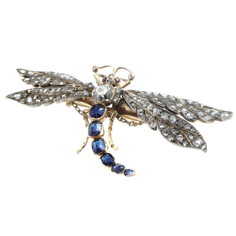 Victorian Diamond and Sapphire Gold Dragonfly Brooch For Sale