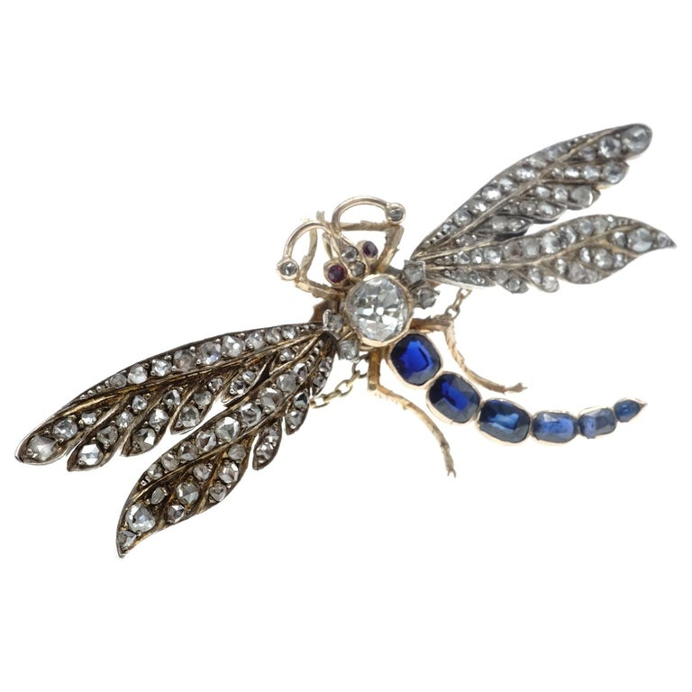 Women's Victorian Diamond and Sapphire Gold Dragonfly Brooch For Sale