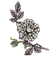 9.85 Carat Antique Silver, Gold, Diamond and Demantoid Garnet Flower Clip-Brooch
