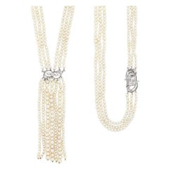 Long Triple Strand Pearl, Platinum, Gold and Diamond Fringe Sautoir