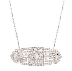 14 Karat Platinum and Diamond Pendant-Brooch with White Gold Chain Necklace