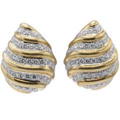 David Webb, 8 Carat Diamond and Platinum Clip-On Earrings