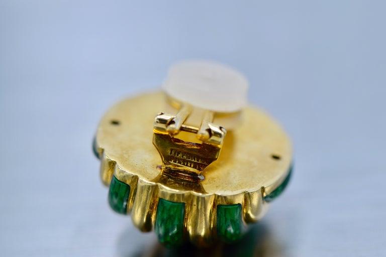 Women's Tiffany & Co. 18 Karat Yellow Gold with Green Enamel Clip-On Earrings For Sale