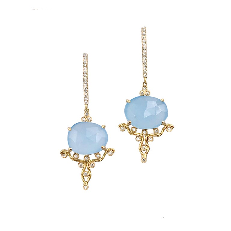 Kenna Rose-Cut Chalcedony Drop Post Earrings 18K Gold 0.315TCW Diamonds
