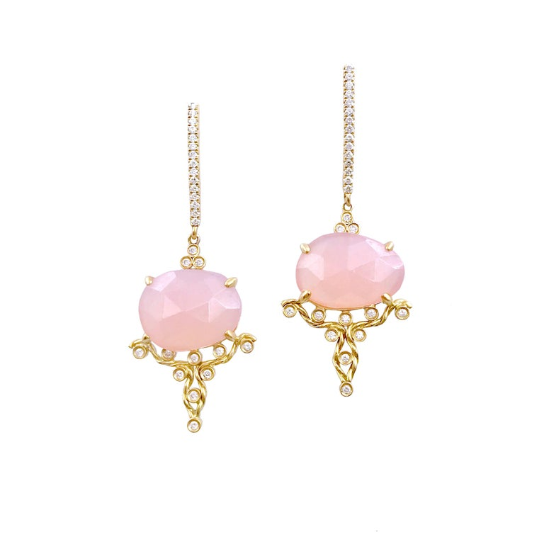 Kenna Rose-Cut Pink Chalcedony Drop Post Earrings 18K Gold 0.315TCW Diamonds