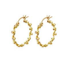Dionysus Diamond Hoop Earrings 18 Karat Yellow Gold 0.225 Carat in Stock