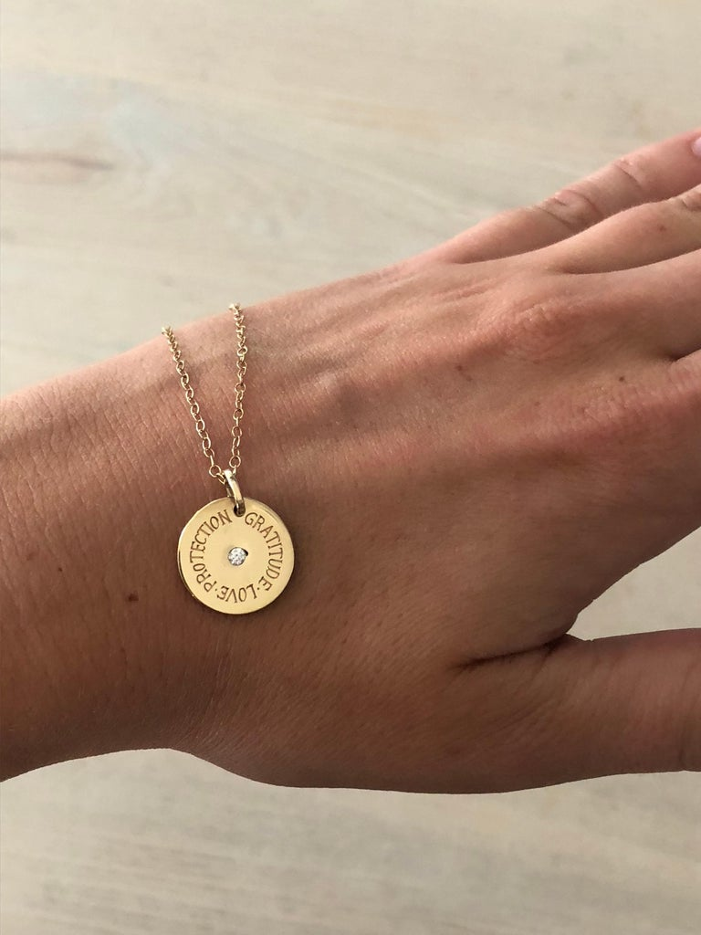 Modern Minka Gems, Gold Protection Charm Necklace  For Sale