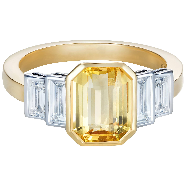 Sri Lankan No Heat Yellow Sapphire Baguette White Diamond Engagement Ring
