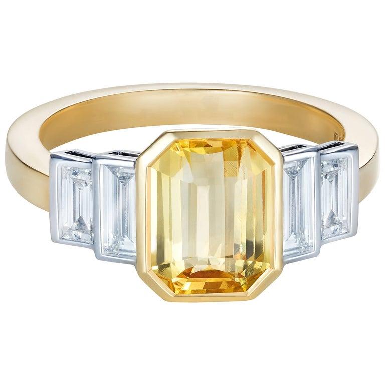 Sri Lankan No Heat Yellow Sapphire Baguette White Diamond Engagement Ring For Sale