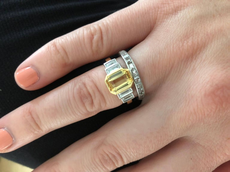 Emerald Cut Sri Lankan No Heat Yellow Sapphire Baguette White Diamond Engagement Ring For Sale