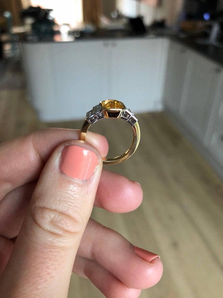 Women's or Men's Sri Lankan No Heat Yellow Sapphire Baguette White Diamond Engagement Ring For Sale