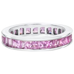 Princess Cut Pink Sapphire, Eternity Band Set In 18kt White Gold