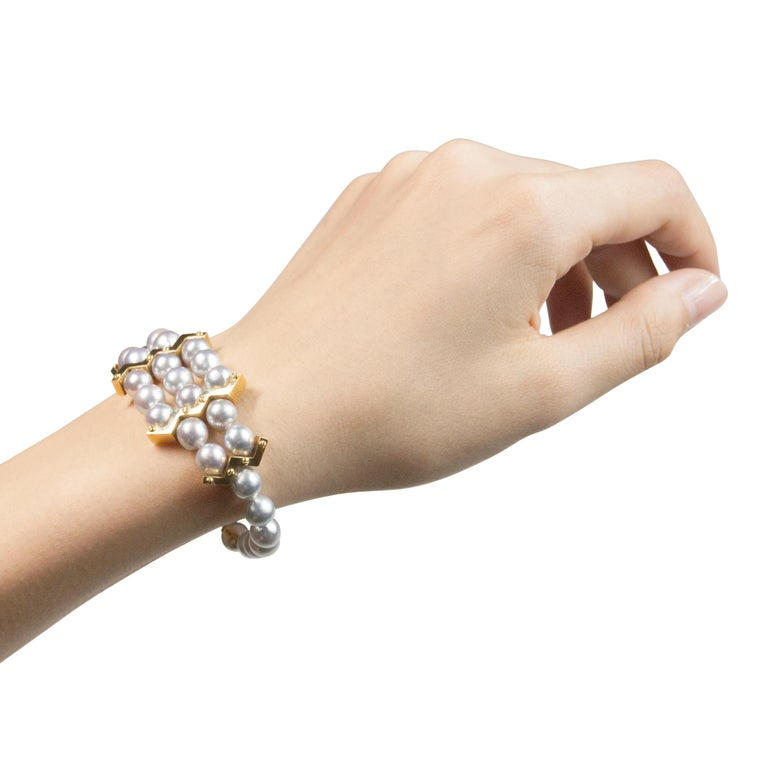 18 Karat Yellow Gold Akoya Pearl Bracelet In New Condition For Sale In Shibuya, Tokyo, JP