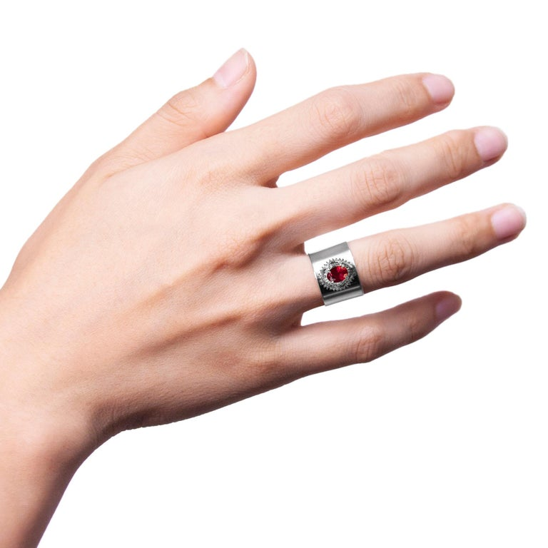 Round Cut Tourmaline 1.690 Carat Diamond 0.470 Carat Platinum Wide Band Ring For Sale