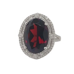 14.08 Carat Garnet and Diamond Ring Set in 14 Karat White Gold