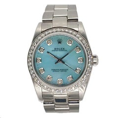 Rolex Stainless Steel Diamond Blue Dial Midsize Wristwatch, circa 2005