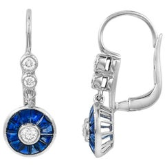 Round Art Deco Style Diamond and Sapphire Earrings in 14 Karat White Gold