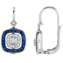 Art Deco Style and Diamond and Sapphire Earrings in 14 Karat White Gold