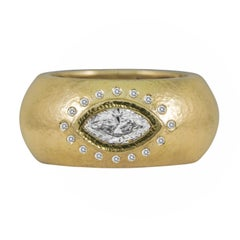 1.00 Carat Hammered Marquise Diamond Yellow Gold Ring