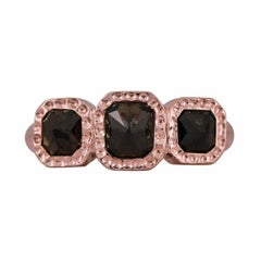 2.90 Carat Champange Diamond Rose Gold Hammered Ring