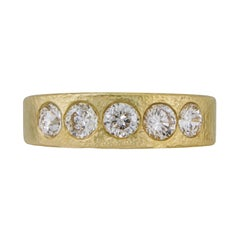 1.00 Carat Hing Yellow Gold Ring or Band with Five Round Brilliant Diamonds