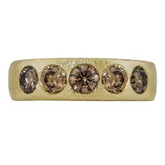 0.95 Carat Hing Yellow Gold Cognac Diamond Hammered Band/Ring