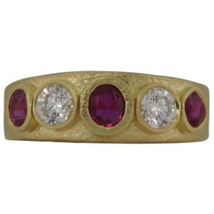 1.82 Carat Hing Yellow Gold Ruby and Diamond Hand Hammered Band/Ring