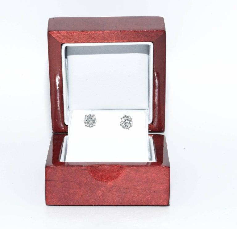 Women's or Men's 1.15 Carat Old European Cut Diamond Stud Earrings For Sale