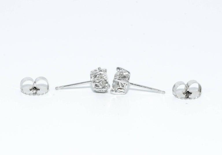 Modern 1.15 Carat Old European Cut Diamond Stud Earrings For Sale