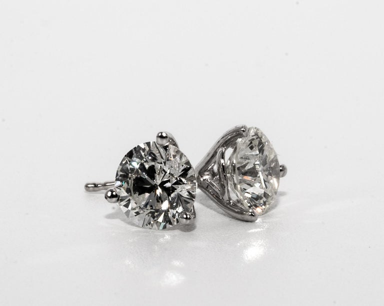 2.18 Carat Diamond Stud earrings in 14K White Gold 3 Prong Martini setting allows the earrings to sit flush without sagging ( with friction backs) Color is I SI3, inclusions not visible to the eye 6.5 MM Diameter, beautifully cut and perfectly