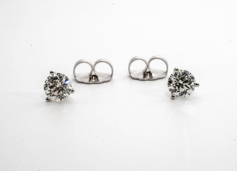 Round Cut 2.18 Carat Diamond Stud Earrings in 14 Karat White Gold, in Martini Setting For Sale