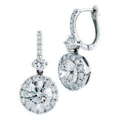 2.03 Carat Dangling Halo Diamond Earrings in 18 Karat White Gold