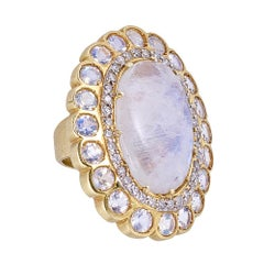 Tanya Farah Marie Antoinette Moonstone and Diamond Cocktail Ring
