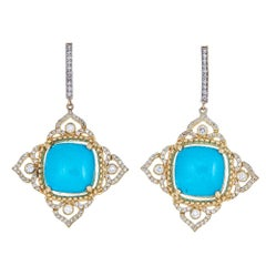 Tanya Farah 18K Diamond Imperial Earrings with Turquoise Center