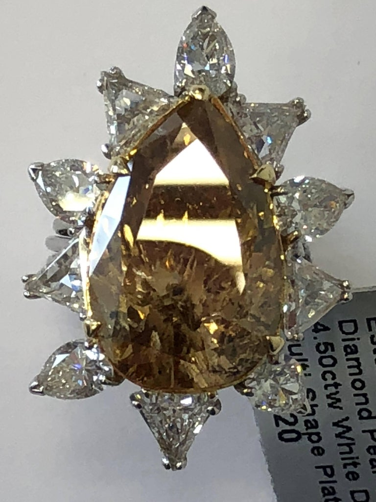 Estate Brown Diamond Pear Shape Cocktail Ring For Sale 1