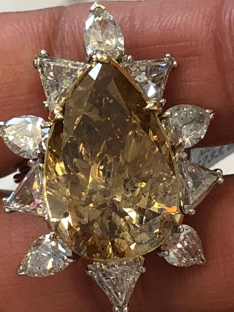Women's or Men's Estate Brown Diamond Pear Shape Cocktail Ring For Sale