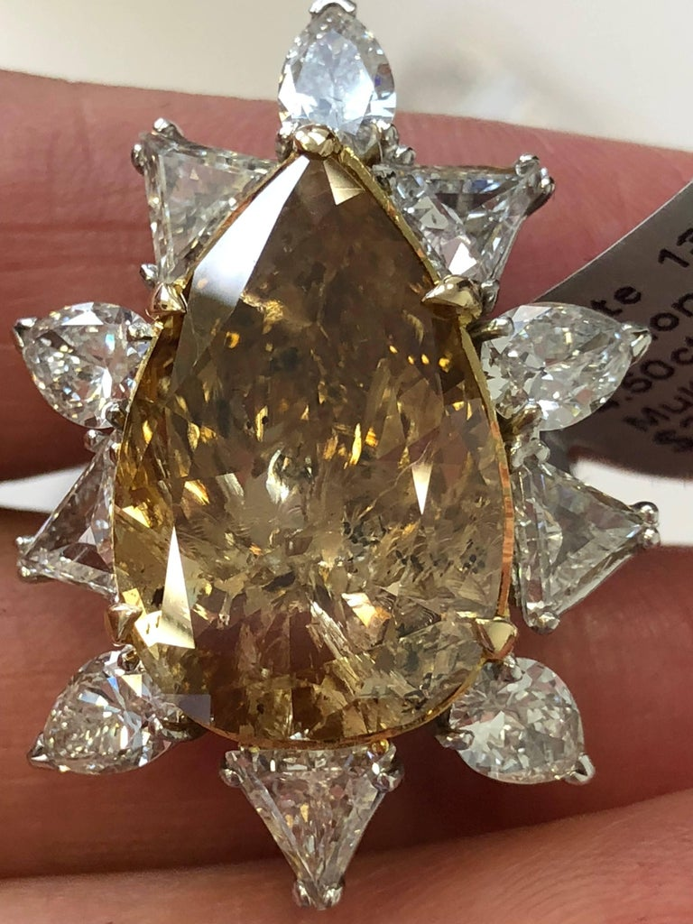 Estate Brown Diamond Pear Shape Cocktail Ring In New Condition For Sale In Los Angeles, CA