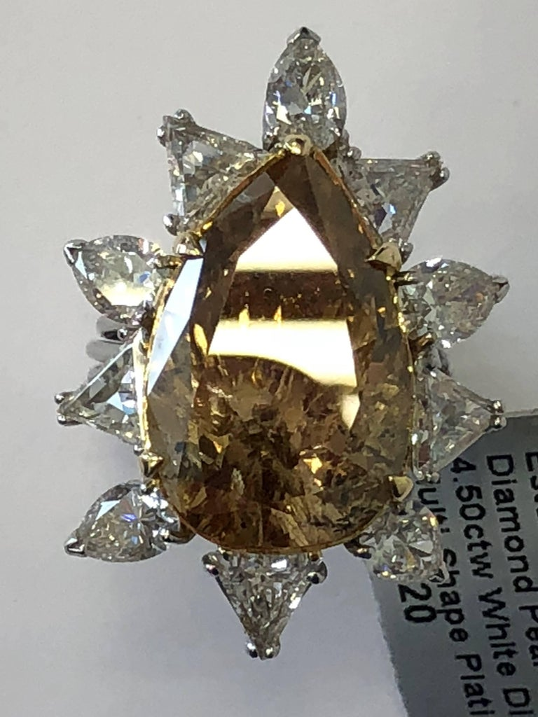 Estate Brown Diamond Pear Shape Cocktail Ring For Sale 2