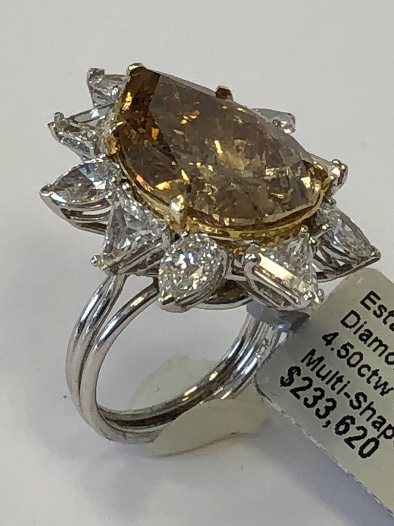 Estate Brown Diamond Pear Shape Cocktail Ring For Sale 3