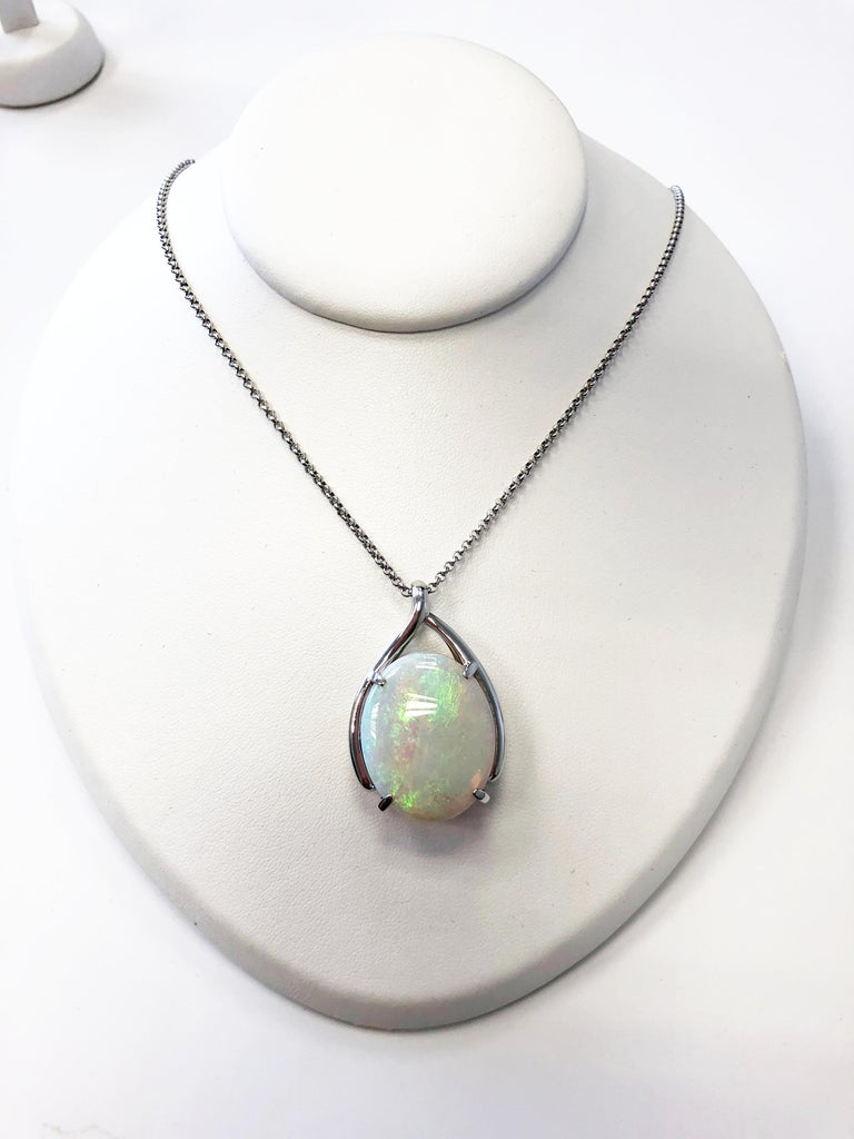 Oval Cut Opal Oval Pendant Necklace in Platinum For Sale