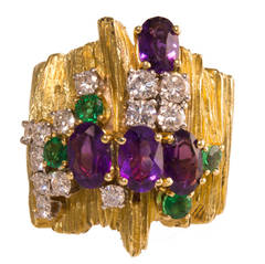 Henry Dunay Diamond Emerald Amethyst Gold Ring
