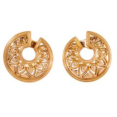 Cartier Tanjore Pierced Hoop Style Gold Earrings