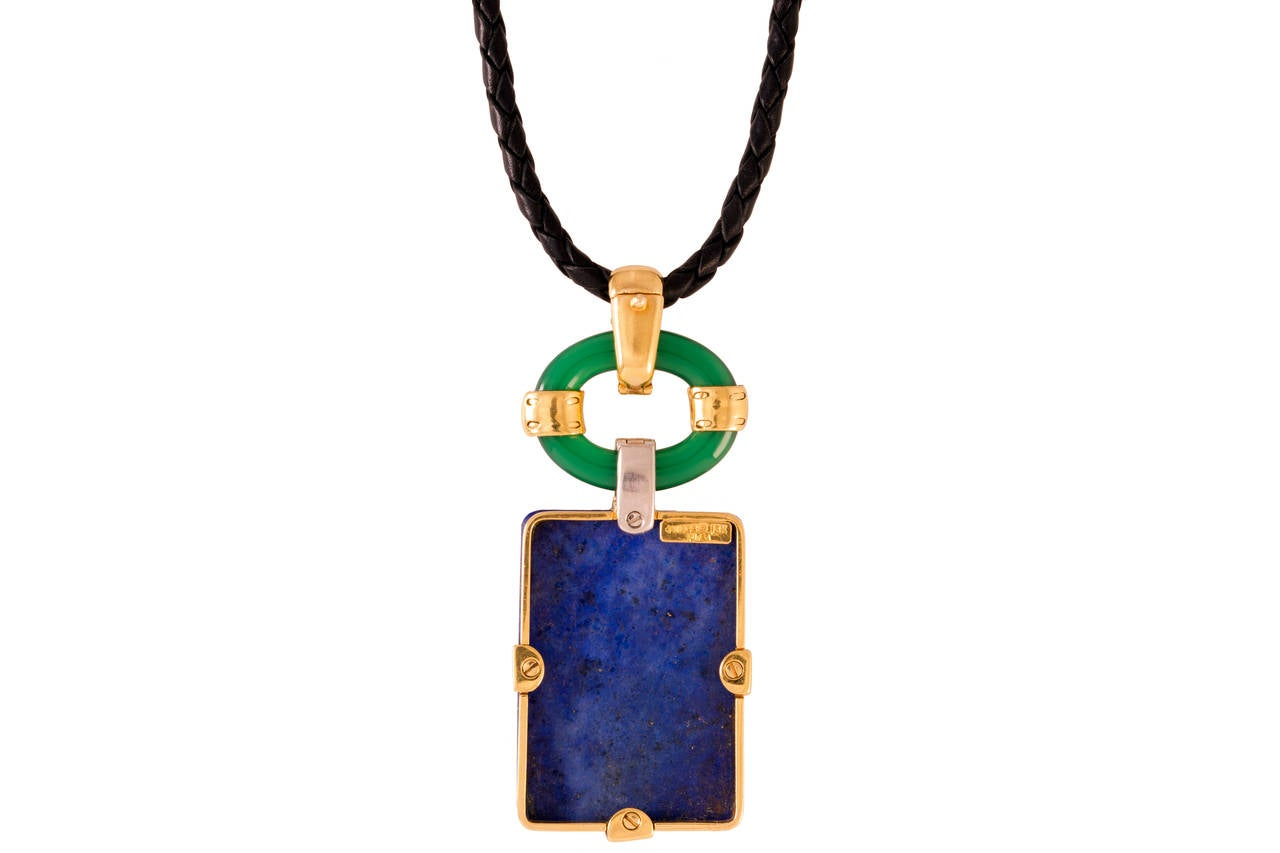 David Webb Lapis Chrysoprase Ruby Diamond Gold Platinum