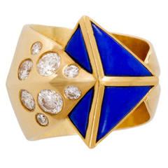 1980s Otto Jakob Lapis Diamond Gold Arrow Ring