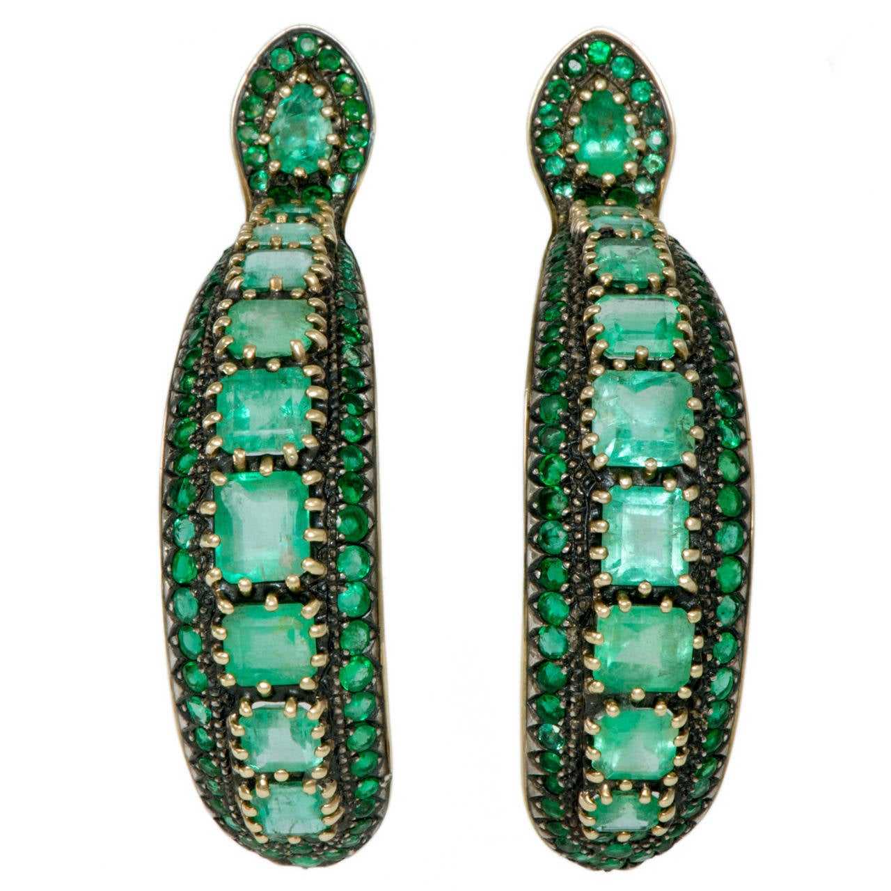 Marilyn Cooperman Emerald Silver Gold Hoop Earrings