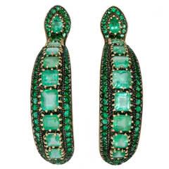 Marilyn Cooperman Emerald Silver Gold Hoop Earrings