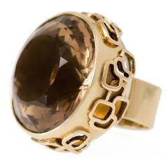 Stunning 1970s Gold and Smoky Quartz Ring