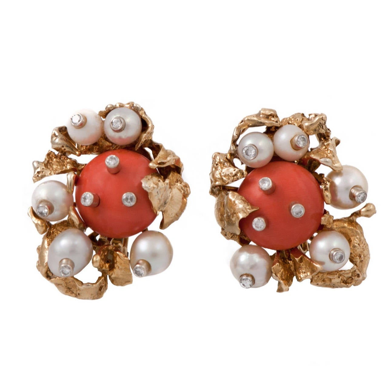 David Webb Coral Pearl Diamond Gold Clip On Earrings For