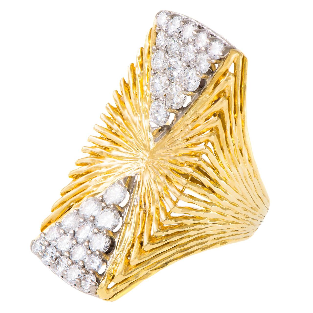 Kutchinsky London Diamond Textured Gold Cocktail Ring For